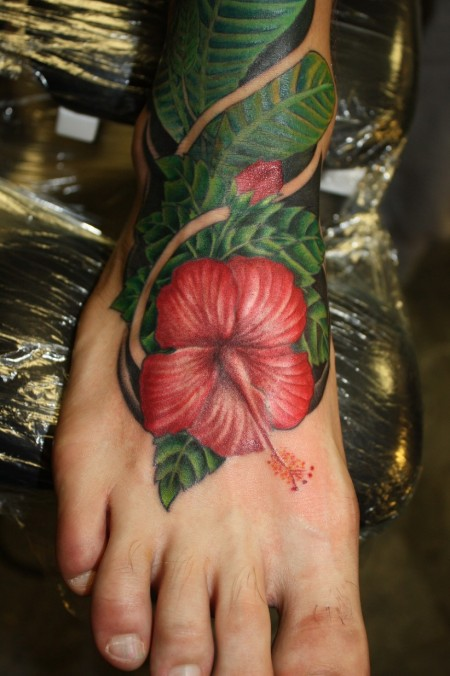 flower tattoo colors. Color Flower Tattoo on foot